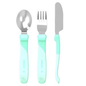 Twistshake® Pribor za jelo od nehrđajućeg čelika Pastelno Zelena (12+m)